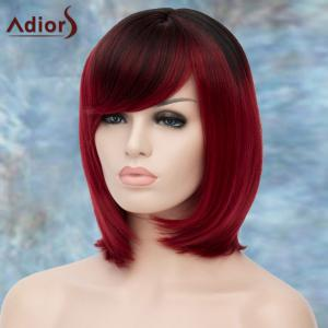 Adiors Short Ombre Oblique Bang Straight Bob Synthetic Wig -
