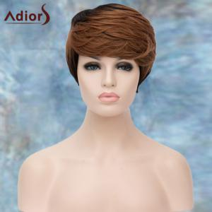 Adiors Layered Short Highlight Oblique Bang Straight Synthetic Wig - COLORMIX
