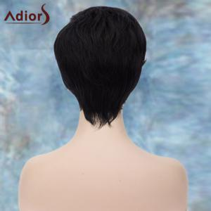 Adiors Short Fluffy Side Parting Straight Synthetic Wig - BLACK BLUE