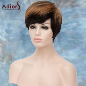 Adiors Short Highlight Fluffy Side Bang Straight Synthetic Wig - COLORMIX
