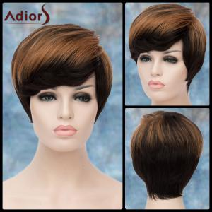 Adiors Short Highlight Fluffy Side Bang Straight Synthetic Wig