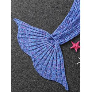 Warmth Cable Knitted Mermaid Tail Shape Blanket - PURPLE