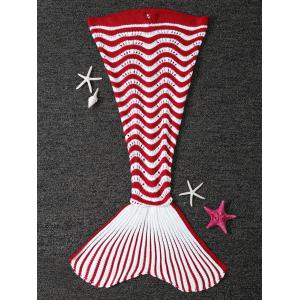 Color Splicing Striped Knitted Kid's Mermaid Tail Blanket - Red With White - W31.50inch*l70.70inch