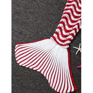 Color Splicing Striped Knitted Kid's Mermaid Tail Blanket - RED/WHITE
