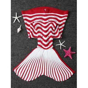 Color Splicing Striped Knitted Kid's Mermaid Tail Blanket -