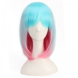Medium Side Bang Colored Straight Cosplay Synthetic Wig - COLORMIX