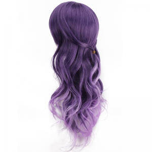 Long Purple Ombre Side Bang Wavy Cosplay Synthetic Wig -