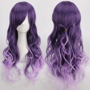 Long Purple Ombre Side Bang Wavy Cosplay Synthetic Wig - Colormix
