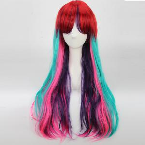 Rainbow Long Full Bang Slightly Curled Cosplay Synthetic Wig -
