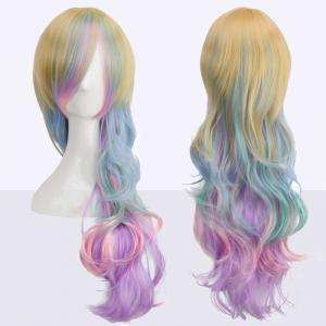 Rainbow Long Side Bang Wavy Cosplay Synthetic Wig