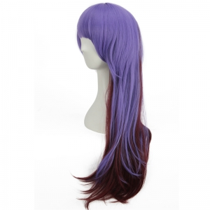 Long Full Bang Straight Double Color Synthetic Cosplay Wig - BLUE / BROWN