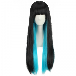 Stunning Long Full Bang Straight Double Color Synthetic Cosplay Wig - BLACK/BLUE