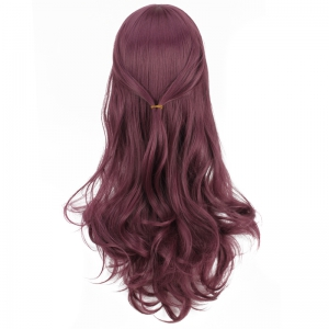 Long Full Bang Slightly Curled Cosplay Synthetic Wig - COLORMIX