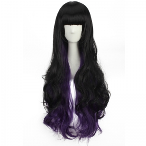 Stunning Long Neat Bang Wavy Double Color Synthetic Cosplay Wig -