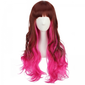 Long Neat Bang Fluffy Wavy Double Color Synthetic Cosplay Wig - COLORMIX