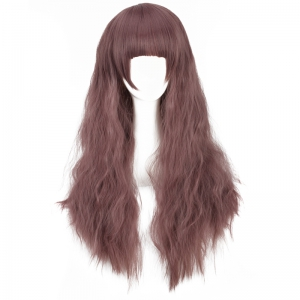 Long Neat Bang Fluffy Water Wavy Synthetic Cosplay Wig - COLORMIX