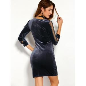 Short Fitted Velvet Bodycon Sheath Dress - FROST 3XL