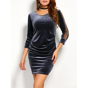 Mesh Spliced Fitted Velvet Bodycon Dress