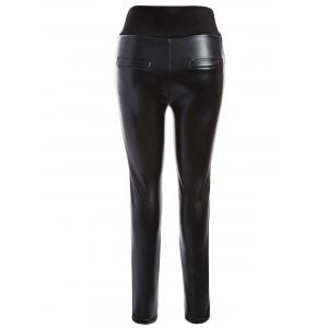 Plus Size PU Skinny Leggings - BLACK 5XL