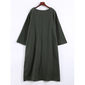 Patched Vintage Loose Thick Dress - ARMY GREEN ONE SIZE