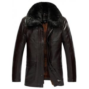 Plus Size Faux Fur Collar Flocking PU Leather Jacket - Coffee Brown - Xl