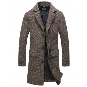 Lapel Flap Pocket Tweed Wool Mix Coat - Coffee - 3xl
