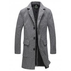Lapel Flap Pocket Tweed Wool Mix Coat - Gray - L