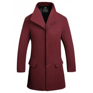 Button Up Flap Pocket Wool Mix Coat - Wine Red - L