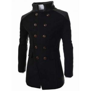 Knitted Collar Double Breasted Spliced Wool Mix Coat - BLACK 2XL