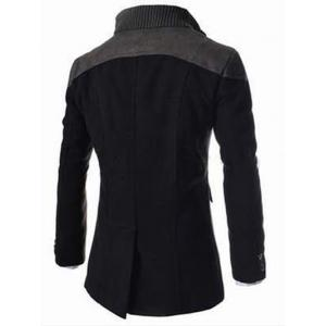 Knitted Collar Double Breasted Spliced Wool Mix Coat -