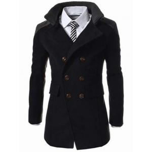 Knitted Collar Double Breasted Spliced Wool Mix Coat - Black - M