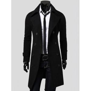 Double Breasted Overcoat with Side Pockets - Black - L