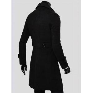 Double Breasted Overcoat with Side Pockets - BLACK M