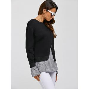 Shirt Insert Layered Sweatshirt - BLACK ONE SIZE