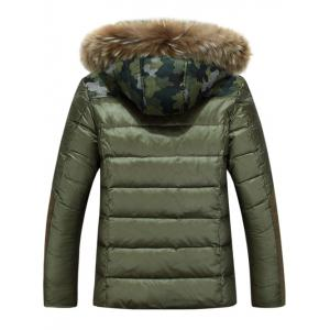 Camo Insert Faux Fur Hooded Padded Jacket - ARMY GREEN M