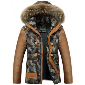 Camo Insert Faux Fur Hooded Padded Jacket - Coffee - Xl