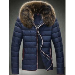 Contrast Trim Zip Up Faux Fur Collar Padded Jacket - Cadetblue - 2xl