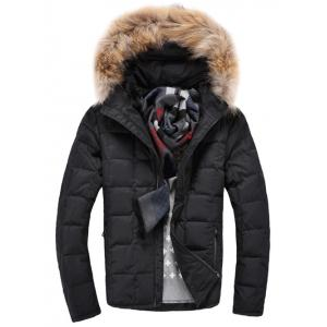Faux Fur Knitted Hood Zippered Quilted Jacket - Black - L
