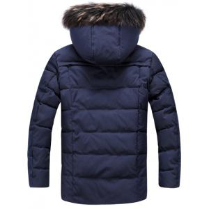 Pocket Front Zippered Faux Fur Hooded Padded Jacket - CADETBLUE XL