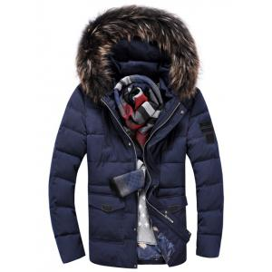 Pocket Front Zippered Faux Fur Hooded Padded Jacket - Cadetblue - M