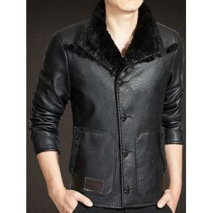 Button Up Faux Leather Sherpa Jacket - BLACK XL