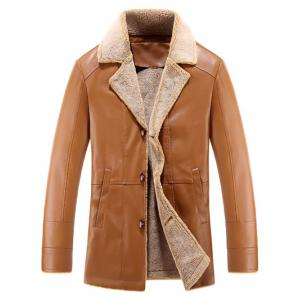 Notch Lapel Button Up Sherpa Faux Leather Jacket