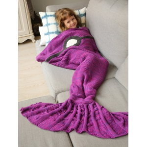Winter Thicken Knitted Wrap Sofa Mermaid Blanket - Violet Rose - 150*90cm