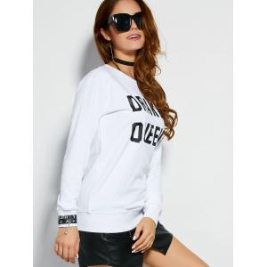 Pullover Sweatshirt With Text - WHITE M