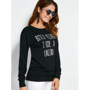 Pullover Text Sweatshirt - BLACK M