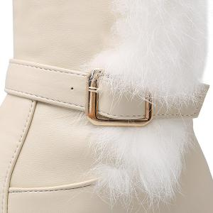 Faux Fur Double Buckle Thigh Boots - GLITTER CREAMY WHITE 39