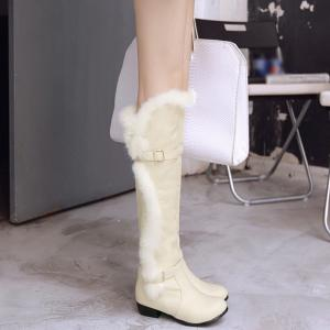 Faux Fur Double Buckle Thigh Boots -