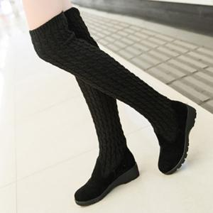 Splicing Wedge Dark Colour Thigh Boots -