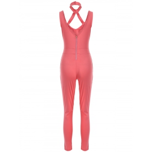 Sleeveless Hollow Out Backless Fitted Jumpsuit -