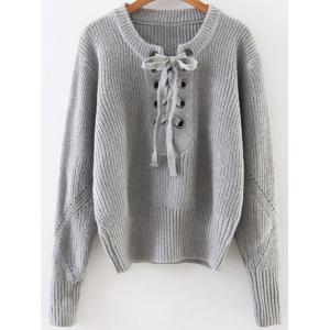 Lace Up Ribbed Pullover Sweater - Gray - One Size